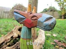 Fair Trade Hand Carved Made Wooden Rainbow Giraffe Sculpture Ornament Statue