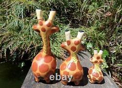 Fair Trade Hand Carved Made Wooden Safari Giraffe Set Of 3 Sculptures Ornaments