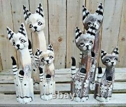 Fair Trade Hand Carved Made Wooden Shabby Tall Cat Statue Ornament Set Of 3