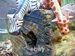 Fair Trade Hand Carved Made Wooden Shelf Giraffe Zebra Set 2 Safari Sculptures
