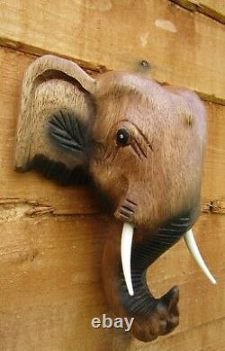 Fair Trade Hand Carved Made Wooden Thai Elephant Head Wall Art Plaque Hanging