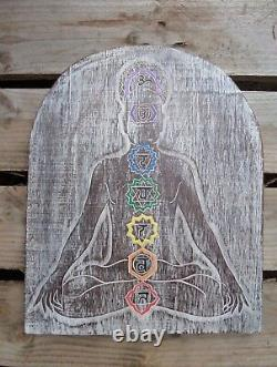 Fair Trade Hand Carved Made Wooden Yoga Meditation Chakra Wall Plaque Hanging