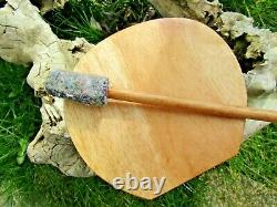 Fair Trade Hand Made Wooden Coconut Hand Drum With Stick