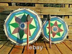 Fair Trade Hand Made Wooden Painted Native American Shamanic Shaman Drum 32 42cm