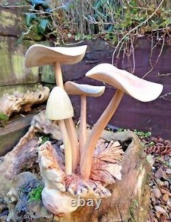 Fair Trade Indonesian Hand Carved Made Wooden Mushroom Parasite Statue Large