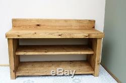 Farmhouse Wooden Shoe Rack Boot Rack Bench Solid Chunky Wood Antique Rustic