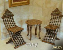 Folding Chair Moroccan Handmade Mosaic Wooden furniture inlay with pearls