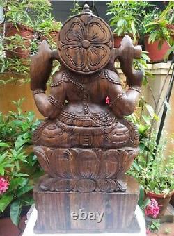 Ganesha Statue Wooden Ganapati Sculpture Figurine Vinayaka Ganesh Pooja Idol
