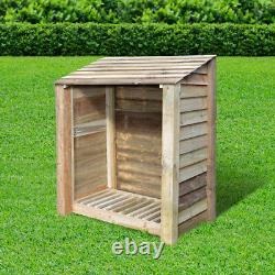 Greetham 4ft Outdoor Wooden Log Store Clearance Stock UK Hand Made