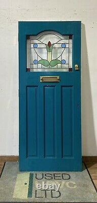 HANDMADE-BESPOKE WOODEN FRONT ENTRANCE DOOR-TIMBER-1930s RECLAIMED-USED-stained