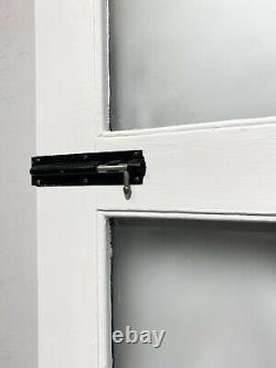 HANDMADE-BESPOKE WOODEN FRONT ENTRANCE DOOR-TIMBER-BLACK-1930s-ORIGINAL-NARROW