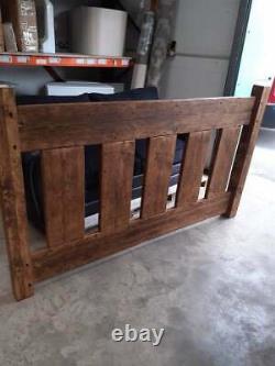 HANDMADE SOLID WOODEN CHUNKY RUSTIC SLAT PINE SUPER KING SIZE BED Medium Oak