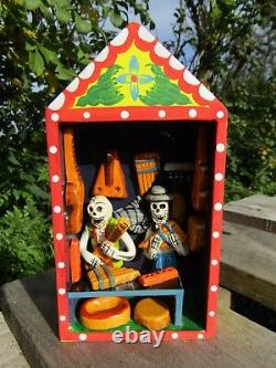 Hand Carved Made Wooden Day Of The Dead Skull Candy Music Shop Retablo Ornament