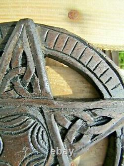 Hand Carved Made Wooden Pagan Occult Witch Pentacle Pentagram Wall Plaque Sign