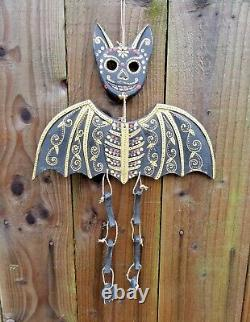 Hand Carved Made Wooden Sugar Skull Candy Day Of The Dead Bat Wind Chime Mobile