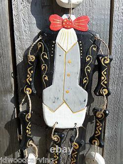 Hand Carved Made Wooden Wood Sugar Skull Candy Man Skeleton Wind Chime Mobile