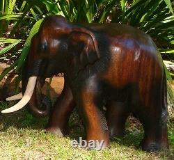 Hand Carved Thai Wooden Elephant Brand New 42cm Size Fair Trade made in Thailand