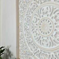 Hand Carved Wooden Decorative Wall Art Framed Mandala Distressed White