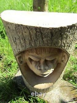 Hand Made Carved Wooden Garden Monkey Chimpanzee Wall Art Plaque Log Sculpture