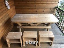 Hand Made Garden Table & Bench, Stole Wooden Garden Furniture Original Wood