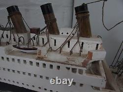 Hand Made Scratch Built Model Boat Ss Titanic Ship Vintage Wooden