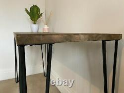 Hand Made wooden desk with metal 2 pronged legs wood stained jacobean oak