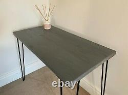 Hand Made wooden desk with metal 3 pronged legs wood stained jacobean oak