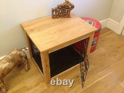 Handcrafted Solid Oak Dog Cages crates. Coffee side end table. Wooden crate
