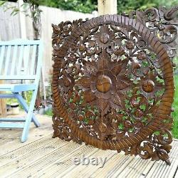 Handmade Carved Wooden Decorative Wall Art Lotus Bed Headboard Panel 35.5 Large