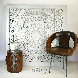 Handmade Carved Wooden Decorative Wall Art Lotus Bed Headboard Panel Large