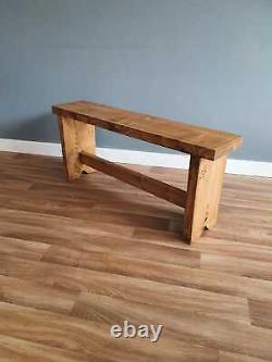 Handmade Rustic Chunky Wooden Bench Rustic Legs Kitchen/Dining/Garden