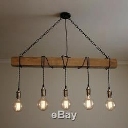 Handmade Wooden Beam Chandelier Rustic Wood Industrial Pendant Lamp Fabric Cable