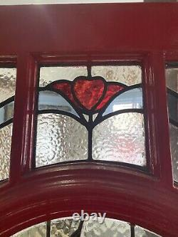 Handmade Wooden Front Door Stained Glass Old