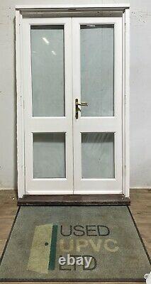 Handmade-bespoke Wooden French Doors-timber-white-external-exterior-narrow-pine