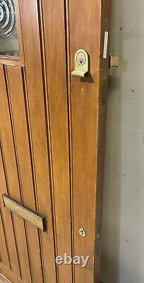 Handmade-bespoke-wooden Front Entrance Door-pine-1930's-external-porthole-timber