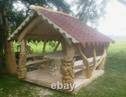 Handmade solid wood garden house shed bench table arbor bespoke summer dining