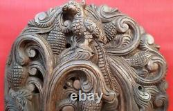 Hindu God Ganesha Wooden Sculpture Handcarved Ganapati Temple Statue Large 42