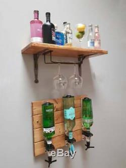 Home Bar Set Up -Reclaimed wooden Beaumont optics plaque with Spirits Shelf