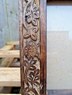 Indian Hand Carved Made Mango Wood Wooden Bird Leaf Carving Photo Display Frame