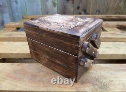 Indian Hand Carved Made Mango Wood Wooden Elephant Jewellery Box Chest Holder