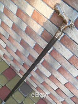 LION Cane Walking Stick Exclusive Wood Wooden BURL HANDLE unique handmade