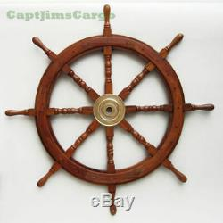 Large 36 Boat Ship Wooden Steering Wheel Brass Center Nautical Wall Decor New