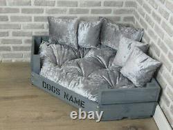 Large Personalised Grey Corner Wooden Dog Bed In Grey Crushed Velvet
