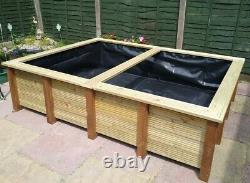 Large Raised Garden Pond Handmade Wooden Water Feature Bench Top Fish Pool 8x6