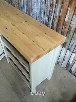 Large Rustic Wooden Pine Freestanding Kitchen Island Handmade Cupboard Trays