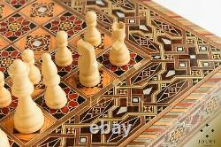 Large Wooden Backgammon/ Chess set inlay with pearl Handmade/ quarantine & chill