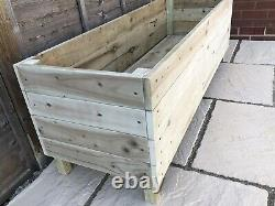 Large Wooden Garden Planter Trough Veg Bed Flower Box Plant Pot Custom Handmade