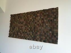Large Wooden Wall Art Handmade Great condition. Wood Block Art