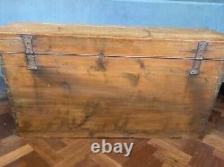 Large old Antique Pine Chest, Vintage Wooden Storage Trunk, Blanket Box