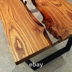 Live Edge Coffe Table with Epoxy River Wood Natural Oak Wooden Handmade Resin